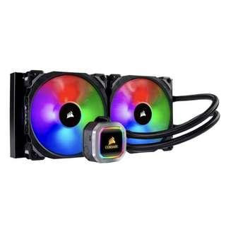 CORSAIR HYDRO Series H100i RGB PLATINUM AIO Liquid CPU Cooler, 240mm Radiator, Dual 120mm ML Series PRO RGB PWM Fans, RGB Lighting and Fan Software Control, Intel 115x/2066, AMD AM4/TR4