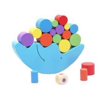 Children Wooden Moon Balance Toy Cartoon Balancing Game Set Cylinder Blocks