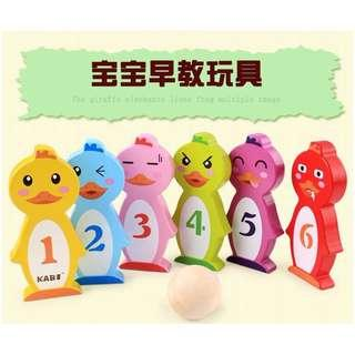 Rainbow Colorful Wooden Bowl Game Kids Indoor Bowling Set Animal Number Learning