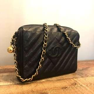 Authentic Chanel Chevron Diagonal Quilted Bag in Caviar Leather w 24k Gold Hardware