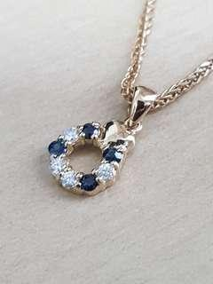 🚚 Added Chain-18K Sapphire Diamond Pendant with gold chain included.