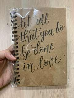 Calligraphy quote notebook