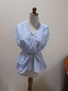 Cotton Ink Blue Striped Blouse