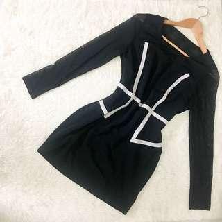 Black Outline Mesh Dress