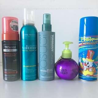Hair products - Tresemme, John Frieda, Toni & Guy, Tigi Bed Head volume, beach waves, texture, hair colour