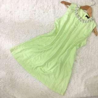 Yellow green beaded dress