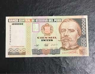 外國紙幣1989年100000元