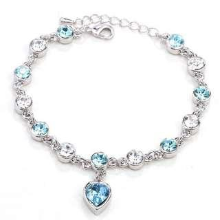 💎BN INSTOCK Silver Plated Zircon Crystal Ocean Light Blue Hearts Bracelet