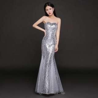 Sequins Light gray  mermaid gown