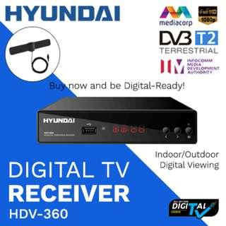 Hyundai DVB-T2 Digital TV Receiver with Free DVB-T2 Flat TV Antenna and Free HDMI Cable (Approved by IMDA)