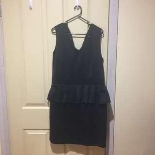 Maya London Deluxe Black Sequin Pleated Peplum Dress Size 18