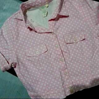 Pastel pink cropped polo