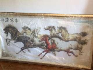 Framed cross stitch of horses