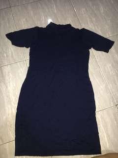 turtle neck mini dress navy