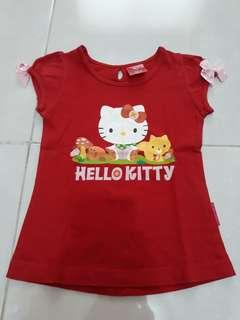Hello kitty kaos merah pita