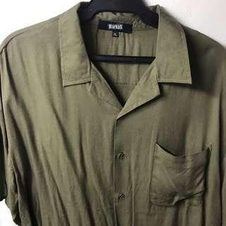 Army green cuban polo
