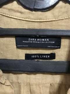 Zara women linen brown shirt