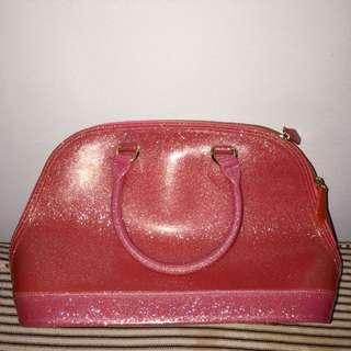 Pink glittery jelly bag