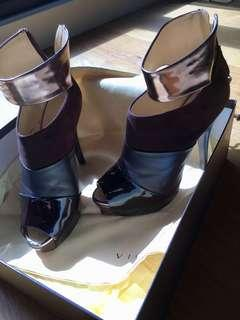 Vicini - Platform size 37 - 4 textures - chocolate leather, suede
