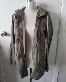 Green khaki hood jacket size 12