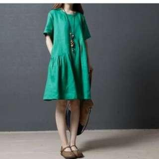 Linen pure color A-word dress
