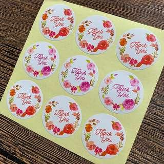 (Free Postage) 81 Floral Thank You Stickers Thank You Labels Thank You Seals