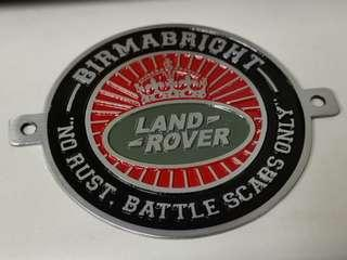Hand crafted and painted tin badge Land Rover Birmabright
