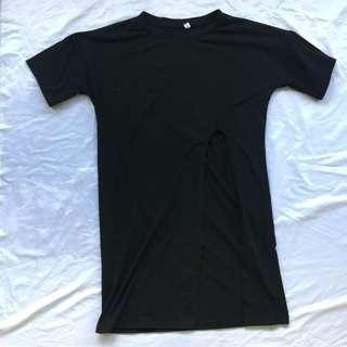 Black Slit T Shirt Dress