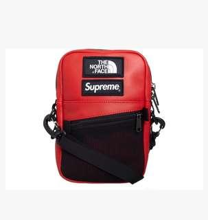 RED SUPREME NORTHFACE x TNF FW18 LEATHER SLING BAG