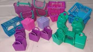 Shopkins basket and bags bundle all original