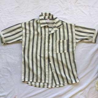 Korean Striped Collared Top