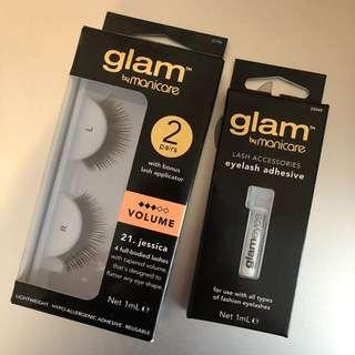 Brand new Glam by manicare volume eye lash + eye lash adhesive