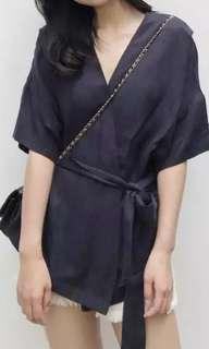 Navy wrap top with sash