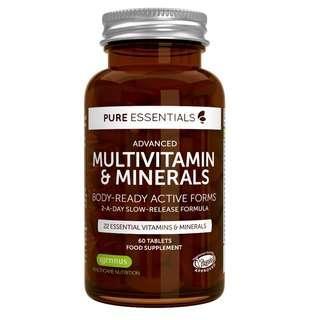 (現貨) Pure Essentials Advanced Multivitamin and Minerals 多種維生素和礦物質 含葉酸維生素D3和K2  60片/樽