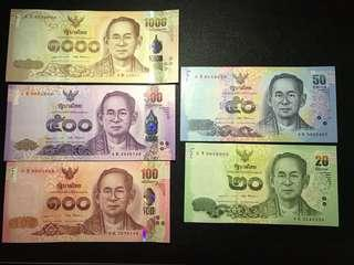 全新UNC 泰國拉瑪九世 紀念5張大全套