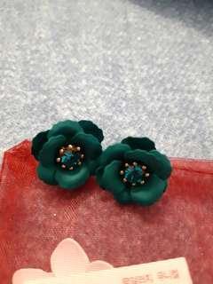 Korea teal colour flower earrings