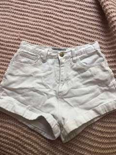White denim high waisted shorts