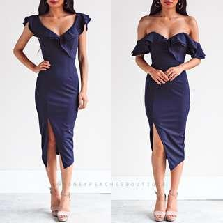 HONEY PEACHES - NAVY MIDI DRESS