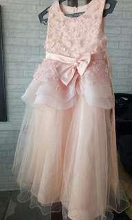 Peach floor length gown for girls