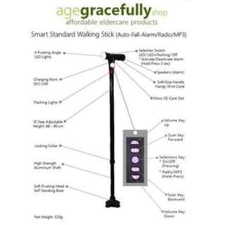 Smart Standard Walking Stick (MP3 Handle With Radio & Auto Fall Alarm) [Free Delivery]