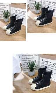 潮流街拍貝殼鞋頭造型拉鏈設計靴子/中筒靴/短靴