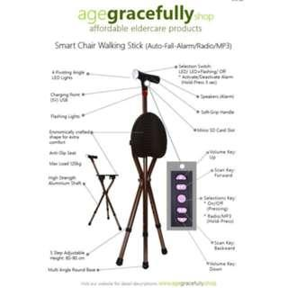 Smart Chair Walking Stick (MP3 Handle With Radio & Auto Fall Alarm) [Free Delivery]