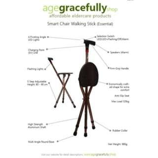 Smart Chair Walking Stick (Essential Handle With Manual Alarm) [Free Delivery]