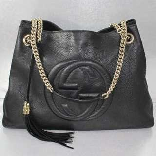 SALES!! Gucci Black Logo Full Leather Shoulder Bag