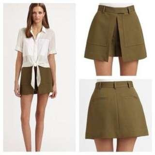"""Auth THEORY Olive Green """"Casilyn Pryor"""" D0226601 Skorts Shorts With Flap US 8"""