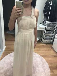 FORCAST BEIGE ONE SHOULDER FORMAL DRESS BRIDESMAID 60