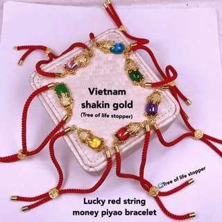 lucky red string money piyao bracelet