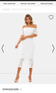 ICONIC ATMOS&HERE WHITE OFF SHOULDER DRESS