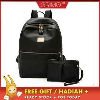 (READY STOCK)GRIMO Metal 2 in 1 Backpack Shoulder Travel Casual Bag