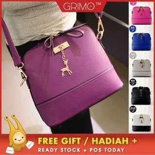 (READY STOCK) GRIMO Hard Deer Sling Bags Handbag Shoulder Casual Bag